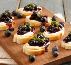 Balsamic Blueberry Mascarpone Crostinis